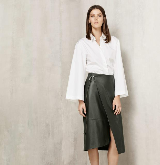 White blouse, €55, Bottle-green leather wrap skirt, €279, Autograph Collection