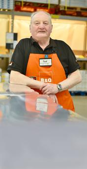 Hard day's night: Ted Dyer, 74 next month, works a 17-hour week in B&Q