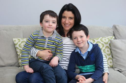 Adele O'Neill and her sons, Ethan, 7, right, and Zach, 4. Photo: Damien Eagers