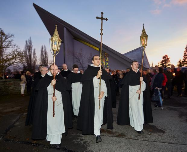 End of an era: Members of the Order of the Dominicans lead the procession after the last Mass in the Dominican Church in Athy, Co Kildare. The town has had a presence of the Dominican order of priests for seven and a half centuries. Photo: michaelorourkephotography.ie