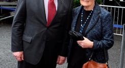 Voice of reason: John Hume and his wife Pat at former Taoiseach Albert Reynolds' funeral in August last year.