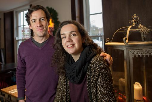 Give a little bit: Michael Nee and Emily Bourke give 10pc of their income to charities. Photo: Fergal Phillips