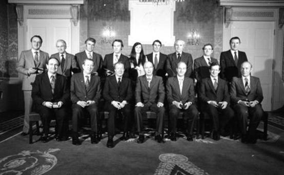 Top of her game: Ministerial Line up with Maire Geoghegan-Quinn at the centre, in 1979. Photo: Tom Burke