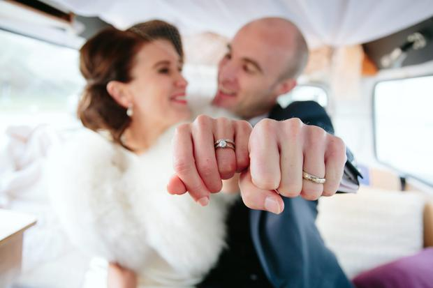 Serena and Muiris show off their rings on their wedding day. Photography by Mark Harrison, visit harrisonphotography.ie