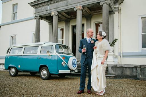 Serena and Muiris travelled in a campervan to their wedding. Photography by Mark Harrison, visit harrisonphotography.ie