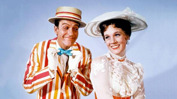 Chim Chim Cher-ee: Dick Van Dyke and Julie Andrews in Mary Poppins.