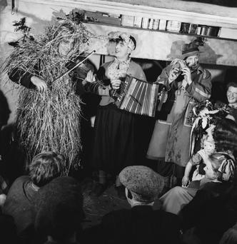 'Wren's Day' celebrations on 26th December in Ireland, circa 1955. (Photo by George Pickow/Three Lions/Hulton Archive/Getty Images)
