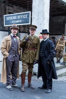 There were a lot more bells and whistles on military costumes: From left, Michael Ford as Harry, Paul Reid as Stephen and Andrew Simpson as George in Rebellion