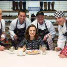 Tradition: Sean Og Hurley, Ruairi Guckian, Michael Walsh and Dessie Lynas of Dubarry Shoemakers in Ballinasloe, Co Galway will cook for the Dubarry ladies, including Una Casey, for Little Christmas this year. Photo: Andrew Downes