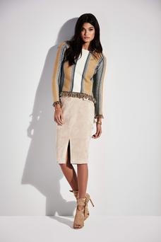 Jumper €45; skirt, €43; sandals €85, available from River Island