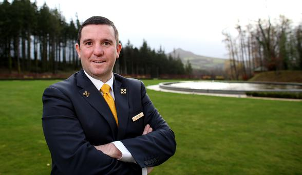Robbie Smyth is cheered up once he drives into the grounds of Powerscourt Hotel. Photo: Gerry Mooney