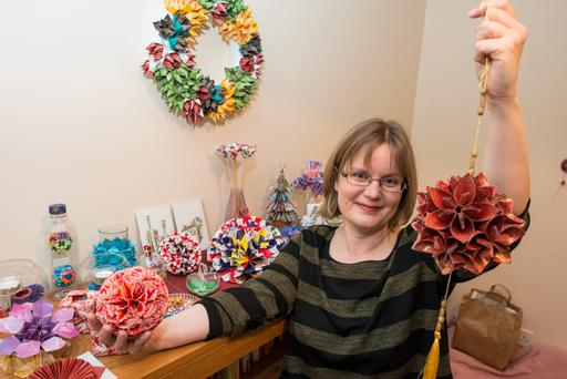 Origami artist and counsellor Michaela Bertsch teaches the art to children and adults. Photo: Douglas O'Connor