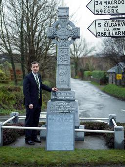 Senator Mark Daly at the monument to Lieutenant Denis Tuohy in Kenmare, Co Kerry.