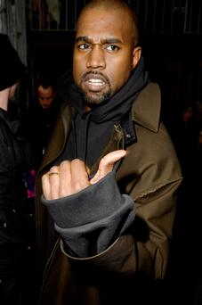 Kanye West pictured at Paris Fashion Week.