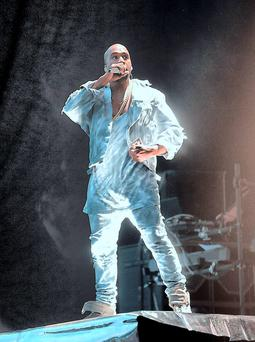Kanye West on stage at Marlay Park during the 2014 Yeezus Tour.