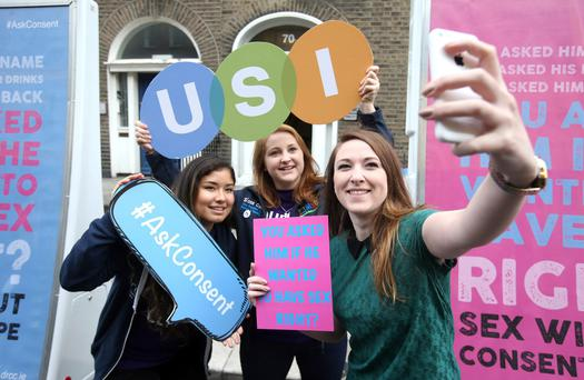 Support: Maria Marcos, Siona Cahill and Aoife Ni Shuilleabhain, from USI, launch the Dublin Rape Crisis' 'Ask Consent' Awareness Raising Campaign last September. Photo: Damien Eagers