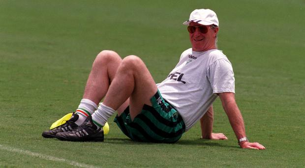 Our Jack: taking a break during a training session at the World Cup in 1994. Photo: David Maher/SPORTSFILE