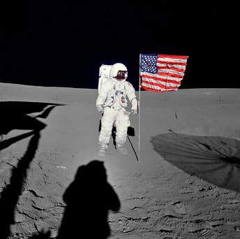 Astronaut Edgar Mitchell on the moon on February 5, 1971. Mitchell, one of only 12 men to walk on the moon, passed away last Thursday in Florida Photo: REUTERS/NASA/Handout via Reuters