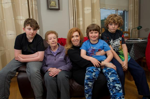 Linda Proudfoot with her son Jake (13), mum Gabrielle O'Connor (83), and sons Ethan (8) and Danny (11). Photos: Doug O'Connor.