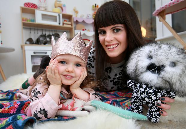 Networking mum: Sooby Lynch with Penny (3) at their home in Sandymount. Photo: Frank McGrath