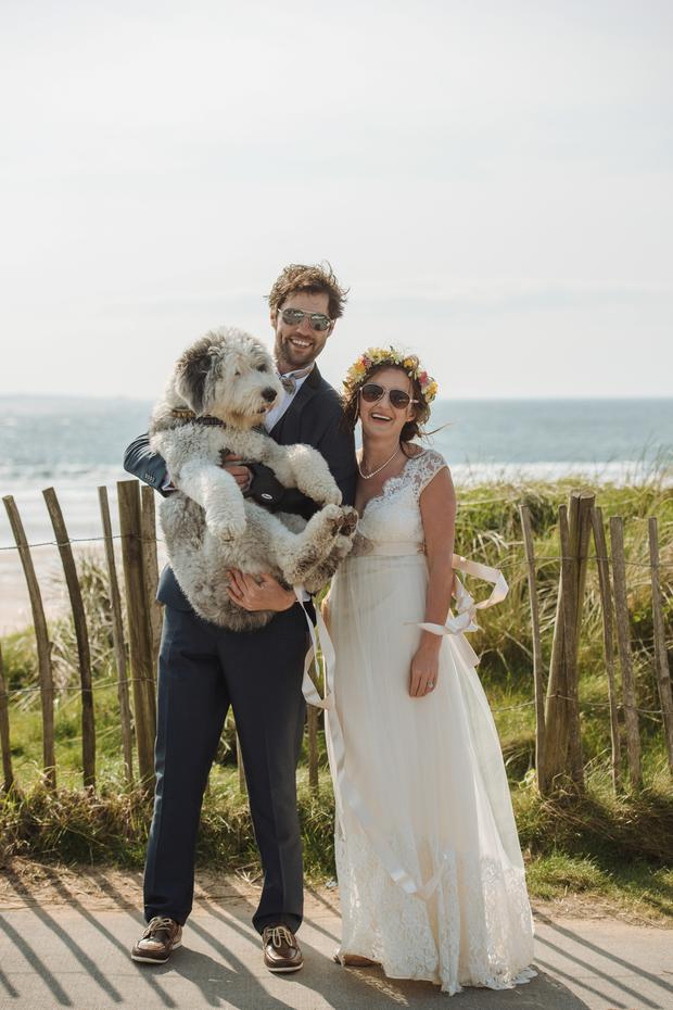 Kathryn and Chris with their Old English Sheepdog, Harri. Photo: Iwona and Greg.