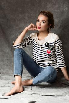 Red lip: Aoibhinn wears: Marc by Marc Jacobs striped top, €355, Paige 'Skyline' ankle peg jeans, €265
