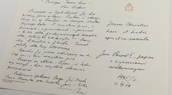 One of hundreds of letters that Polish Cardinal Karol Wojtyla, later Pope John Paul II, sent to a Polish-American philosopher during the 32 years of joint work and friendshi, now kept at the National Library in Warsaw, Poland