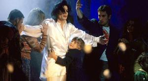 Michael Jackson performs 'Earth Song' at the 1996 ceremony before Jarvis Cocker's stage invasion.