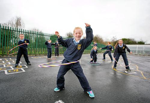 Pupils from St Aidan's National School in Shannon, Co Clare, take p art in Super Troopers activities. Photo: Arthur Ellis