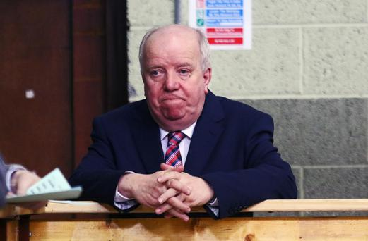 Out for the count: Joe O'Reilly at the Cavan/Monaghan count centre on Sunday afternoon. Photo: Lorraine Teevan