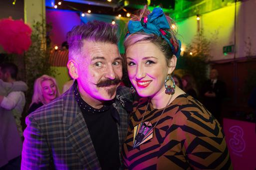 Jerry Fish and DJ Sally Cinnamon at the Electric Picnic 2016 launch party in the Chocolate Factory.