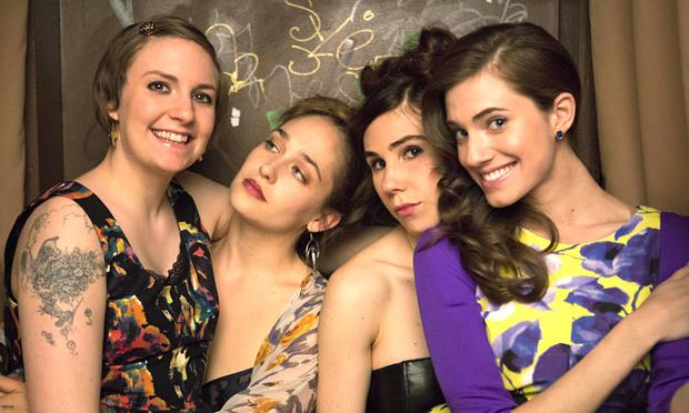 Millenials: Lena Dunham, far left, has written five seasons of 'Girls', starring l-r Jemima Kirke, Zosia Mamet and Allison Williams, dealing wth quarter-life crises.