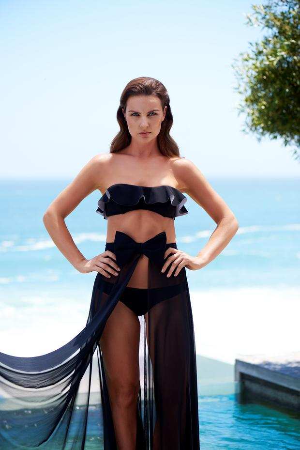 Bonded-fabric bikini set, €395, Lisa Marie Fernandez; bow skirt, €165, Jets.