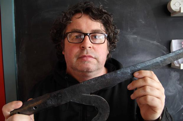 Piece of history: Wexford artist and historian Michael Fortune holds a Wexford pike used in the 1916 Rising.
