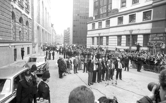 Freedom: The Birmingham Six wave to supporters outside the Old Bailey following their release in March 1991. Photo: Brian Farrell.