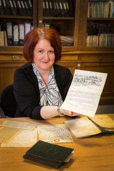 Correspondence: Dublin diocesan archivist Noelle Dowling with 1916 documents. Photo: Colin O'Riordan.