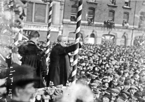 Standing tall: Irish Parliamentary Party leader John Redmond addresses a rally in support of the 1912 Home Rule Bill on Sackville (O'Connell) Street, Dublin, March 31, 1912. Picture: Independent Archives