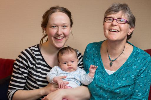 Family: La Leche League member Shirley Butler, with her daughter Claire and her 11-week-old granddaughter Olwyn Maebh. Photo: Fergal Phillips.