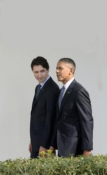 Close allies: Trudeau and Obama.