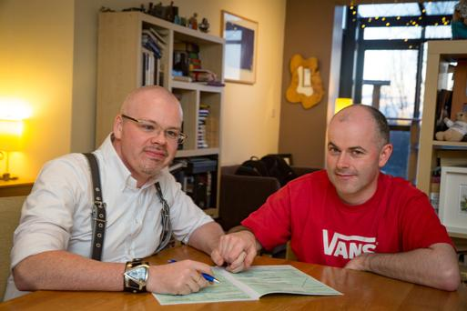 On form: Conor Buggy and husband David Vaughan are ready to tick the 'In a registered same-sex civil partnership' box for the first time. Photo: Arthur Carron.