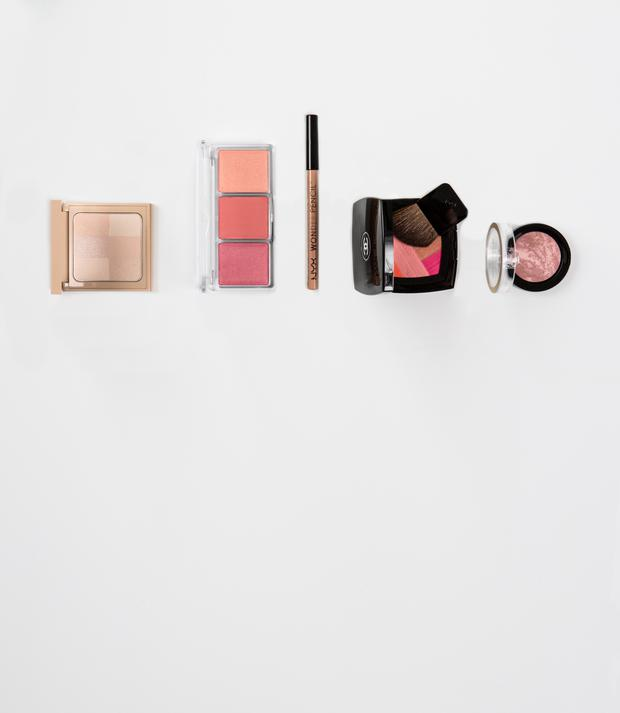 Pictured, from left, Bobbi Brown Nude Finish Illuminating Powder in Porcelain; Catrice Blush Artist Shading Palette in CorAll I Need; Nyx Wonder Pencil in Medium; Chanel Blush Harmony in Sunkiss Ribbon; Max Factor Creme Puff Blush in Lavish Mauve. Photo: Kip Carroll