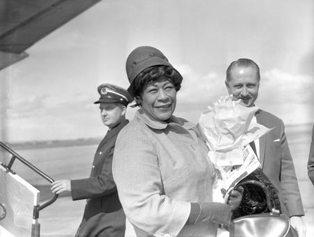 Queen of jazz: Ella Fitzgerald arriving at Dublin Airport on April 13, 1964.