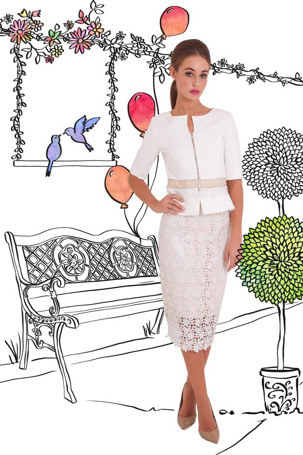 Heidi's 'Aliza' lace jacket (€525) 'with the 'Annalee' lace skirt, (€425).