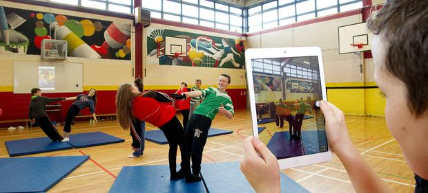 Schooled in fitness: First year students at O'Fiaich College Dundalk taking part in their PE programme. Photo: Tom Conachy