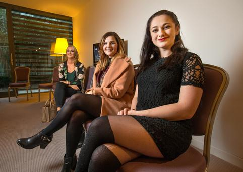 Looking for love: Rebecca Remond from Wexford, Carla McGinley from Donegal and Morgan Barbour from Virginia USA, wait to meet their blind dates in the Irish version of hit TV show 'First Dates' Photo: Tony Gavin