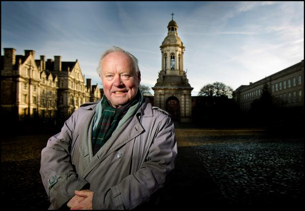 Brendan Kennelly in the grounds of Trinity College.