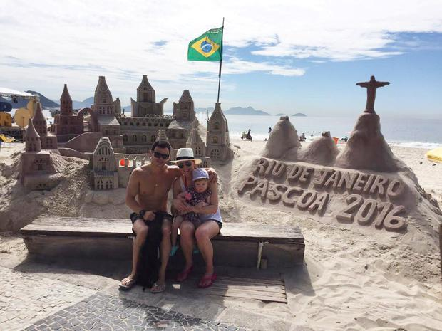 Luiz, Becky and little Isabella do the tourist thing at one of the most iconic beaches in the world, Copacabana.