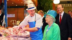 Cork fishmonger Pat O'Connell shows the Queen his finest catches during her State visit in 2011.