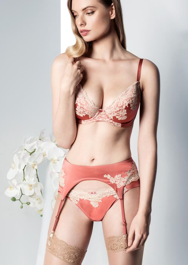 Silk bra, €165; silk brief, €95; silk suspender belt, €150, all Myla; hold-ups, €28, Wolford.