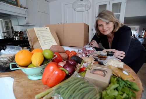 As easy as pie: Karen Winslow with her DropChef food delivery at home in Dublin Photo: Caroline Quinn